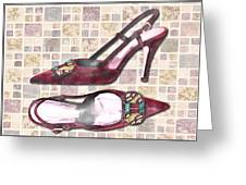 Purple Pumps On Terrazzo Tiles Greeting Card