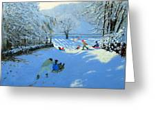 Pushing The Sledge Greeting Card by Andrew Macara