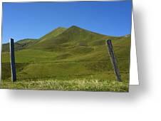 Puy De Barbier And Puy De L'angle. Auvergne. France Greeting Card