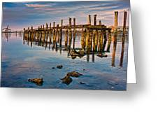 Pylons In Humboldt Bay Greeting Card