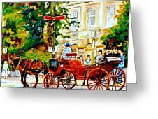Quebec City Street Scene The Red Caleche Greeting Card