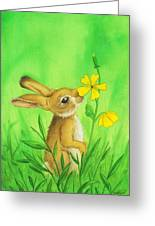 Rabbit And Flower Greeting Card