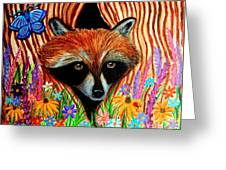 Raccoon And Butterfly Greeting Card