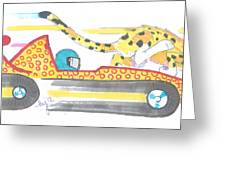 Race Car And Cheetah Cartoon Greeting Card