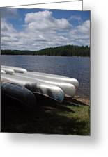 Racks Of Canoe's On Bear Pond Lake In The Adirondacks Ny Greeting Card