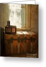 Radio And Camera On Old Trunk Greeting Card