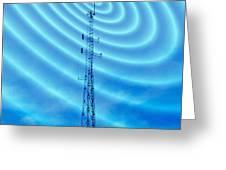 Radio Mast With Radio Waves Greeting Card