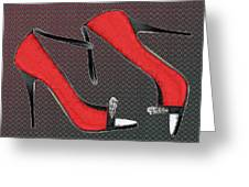 Raging Red Open Toed Stilettos Greeting Card