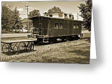 Railroad Car And Wagon Greeting Card