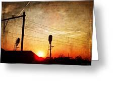 Railroad Sunset Greeting Card