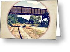 Railroad Tracks And Trestle Greeting Card