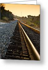 Railroad Tracks At Sundown Greeting Card