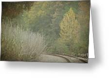 Rails Curve Into A Dreamy Autumn Greeting Card