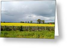 Rain Clouds Over Canola Field Greeting Card