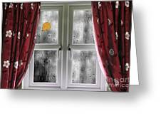 Rain On A Window With Curtains Greeting Card