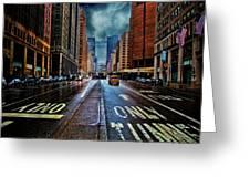 Rain On Park Avenue Greeting Card