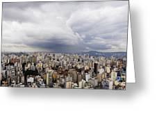 Rain Shower Approaching Downtown Sao Paulo Greeting Card
