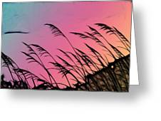 Rainbow Batik Sea Grass Gradient Silhouette Greeting Card
