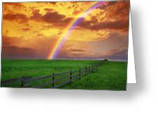 Rainbow In Country Field With Gold Greeting Card