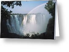 Rainbow In Front Of Victoria Falls Greeting Card