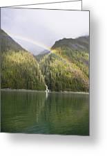 Rainbow Over Forest, Endicott Arm Greeting Card