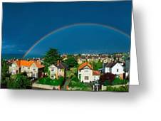 Rainbow Over Housing, Monkstown, Co Greeting Card