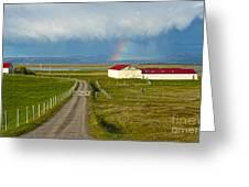 Rainbow Over Iceland Farm Greeting Card