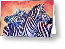 Rainbow Zebras Greeting Card by Diana Shively