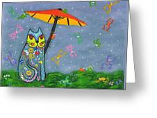 Raining Frogs On Kittyboy Greeting Card
