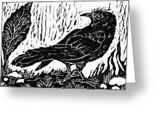 Rainy Day Crow Greeting Card
