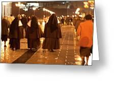 Rainy Night Nuns Greeting Card