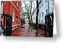 Rainy Philadelphia Alley Greeting Card by Bill Cannon