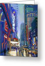 Rainy Reflections In Times Square Greeting Card