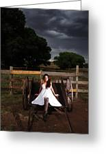 Ranch Woman On Wagon Greeting Card