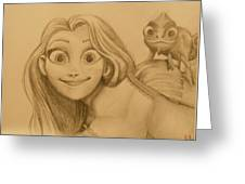 Rapunzel And Pascal Greeting Card