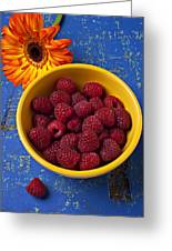 Raspberries In Yellow Bowl Greeting Card by Garry Gay