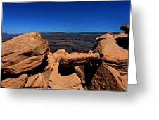 Raven Flying Near Ooh Aah Point Greeting Card