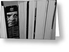 Reading With Dick In Black And White Greeting Card