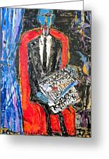 Recalling The Portrait Of An Unknown Man Reading A Newspaper Chevalier X By Andre Derain Greeting Card by Eria Nsubuga