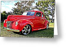 Red 1940 Ford Deluxe Coupe Greeting Card