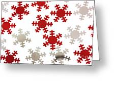 Red And Silver Snowflakes Greeting Card