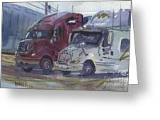 Red And White Trucks Greeting Card