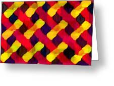 Red And Yellow Basketweave Bias Greeting Card