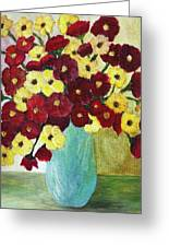 Red And Yellow Bouquet In Blue Greeting Card