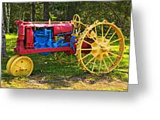 Red And Yellow Tractor Greeting Card