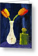 Red And Yellow Tulips In Vase Abstract Palette Knife Painting Greeting Card
