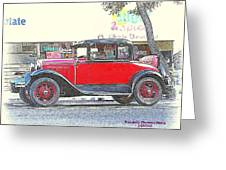 Red Antique Rumble Seater Greeting Card