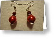 Red Ball Drop Earrings Greeting Card