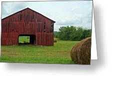 Red Barn And Hay Bales 3 Greeting Card