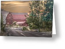 Red Barn At The Curve Greeting Card